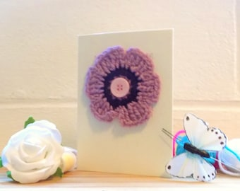 Crochet Flower Greetings Card,  Pink Flower Card, Birthday Card