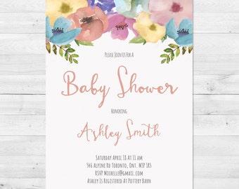 Baby Shower Invitation Girl, Baby Shower Invitation, Floral Baby Shower Invitation