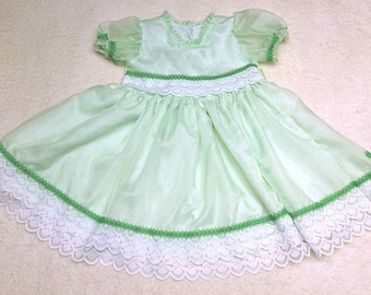 Green Sheer Dress and Socks Child Size 2