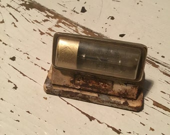 Degussa  promotional advertising Rusty antique vintage thermometer gold bar company