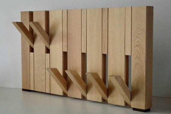 & Design Coat Rack Oak solid retractable hooks available in