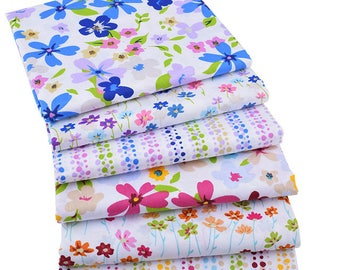 6pcs  Flower & Wave point Cotton Fabric ,Pure Cotton Printed Fabric - 15 Inch x 20 Inch