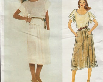 Vogue 2952 / Vintage Designer Sewing Pattern By Adri / Wrap Skirt Blouse Pullover Top/ Size 14 Bust 36
