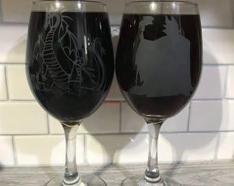 Custom set of 4 wine glasses