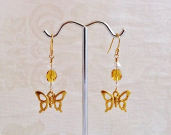 TierraCast Gold Butterfly Earrings with Light Topaz Czech and Clear AB Swarovski Crystals