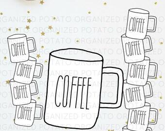 Coffee Cup Digital Bundle   Clip Art & Digital Paper   For use in Planner, Bullet Journal, Travelers Notebook, Erin Condren, etc   PNG, JPG