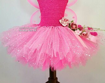 Pink Fairy sparkly Tutu Dress Fairy WITH WINGS-Birthday, Party, Photo Prop, Fancy Dress