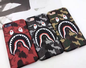 Shark Bape Case Camouflage A Bathing Ape Camo Japan Black Red Army Gray Tumblr Case Cover Apple iPhone X 8 7 plus 6 6S 6plus Matte Fundas