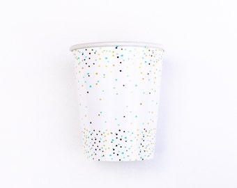 Paper Cups Mint Gold Cups Mint Green Party Cups metallic gold confetti and mint baby shower mint bridal shower mint gold wedding mint party
