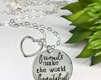 Gifts for Bestfriends - Friendship Gift Ideas -  for Friends - Personalized - Thank You Gifts - Sterling Silver Stamped- Mother's Day