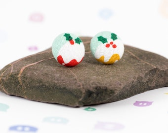 Button earrings - fabric button studs - Dashwood Studio fabric - sterling silver - christmas earrings - stocking filler