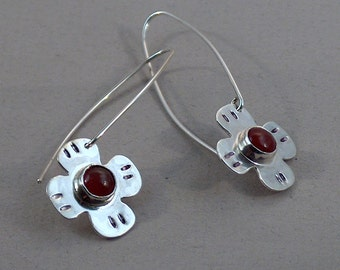 Sterling Silver Carnelian Flower Dangle Earrings