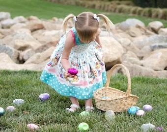Floral Bunny Dress, Easter Dress, Polka Dot Dress, Easter Bunny Dress, Gray Bunny Dress, Easter Egg Dress