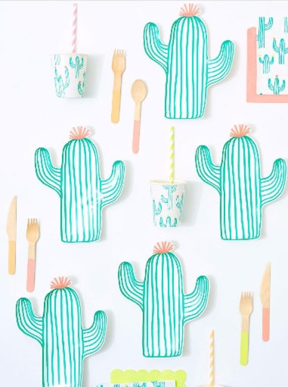 Sale 8 CACTUS PAPER PLATES Cactus Tableware Fiesta Birthday Party Cinco De Mayo Uno Taco Party Green Cacti Whimsical Photo Prop Southwestern  sc 1 st  Etsy Studio & Sale 8 CACTUS PAPER PLATES Cactus Tableware Fiesta Birthday Party ...