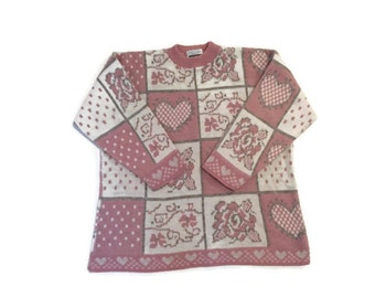 Vintage Pastel Pink Heart Sweater