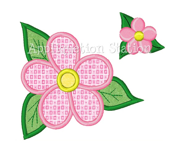 Tropical flower with mini applique machine embroidery design