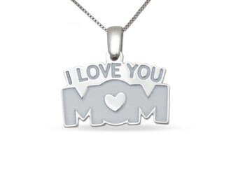 """I Love you Mom Pendant with 18"""" Sterling Silver Box Chain in Sterling Silver"""