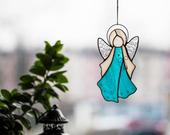 Stained Glass Turquoise Handmade Angel