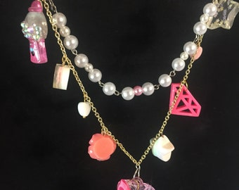 Pretty in pink charm necklace