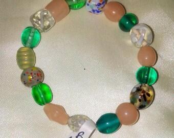Multi-colored Stretch Bracelet, Green & Pink Bracelet, Stretch Bracelet, Beaded Bracelet, Boho Style Bracelet, Affordable Bracelet