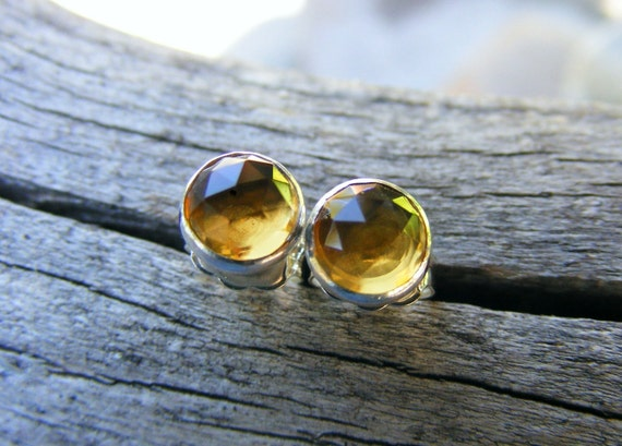 Whiskey Quartz Studs, Like Citrine Color Gemstones, 6mm rosecut gemstone studs,