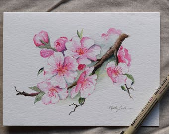 Cherry Blossoms watercolor card-prints