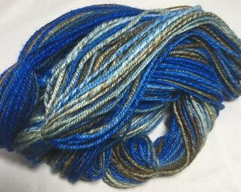 "Handspun Hand Painted Wool Yarn - DK weight - 218 yards, 4 ounces - ""Planet Earth"" (blue, brown)"
