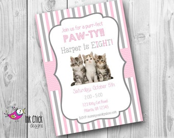 Kitten birthday party invitations kitty are you kitten me cute kitten birthday invitation cat birthday invitation kitten party printable digital file filmwisefo Image collections