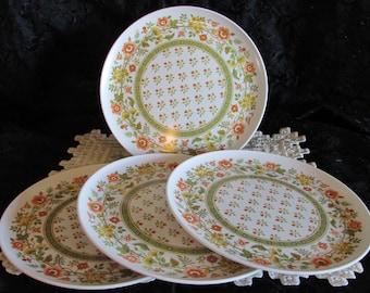 Vintage Orange Floral Melmac Plates,  Set of 4 Melmine Dinner Plates, Picnic Supplies, Outdoor Plates
