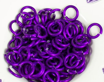 25%OFF 100 PURPLE Jumprings Colored Anodized Aluminum Jump Rings 16g 1/4 Inner Dia Sawcut Made in USA Top Quality chainmaille chainmail