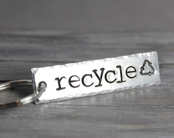 Recycle Key Chain, Recycle Key Ring, Earth Day, Recycle Keychain, Recycle KeyRing, Stamped Key Chain, HandStamped Gift
