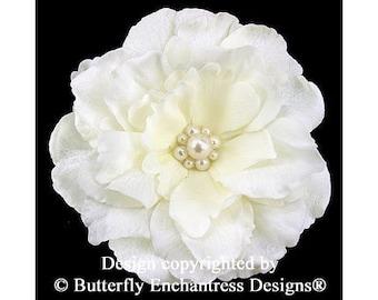 SALE  Bridal Hair Accessory, Wedding Flower Hair Clip, Fascinator - Ivory Audrina Bridal Hair Flower with Pearl Center