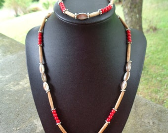 """beautiful 20"""" shell, red bamboo coral, and hair pipe necklace and bracelet set"""