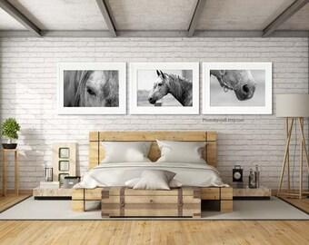 Horse art set of 3 prints/headboard Large wall art/black and white horse photography/horse nursery decor/horse tack/bedroom wall decor