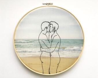 "Embroidery art ""Winter sea"" / Hoop art / Gay art"