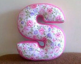 Letter S pillow - Pink With Flowers - Custom letter - Initial pillow - Alphabet pillow - Letter cushion - Monogram pillow - Nursery decor
