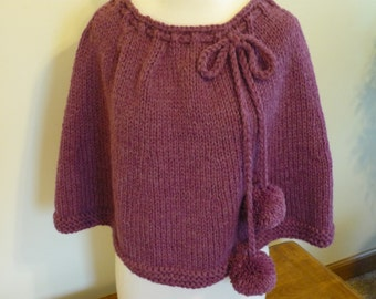 Knit Capelet Shoulder Wrap Poncho Rose Chunky Wool Blend Fall Winter Accessory Ready to Ship Direct Checkout