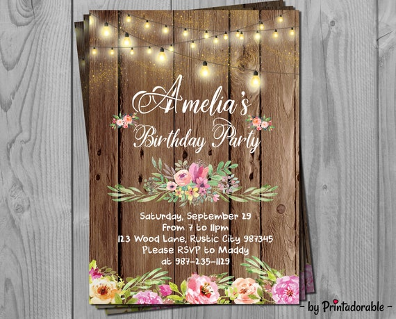 Rustic Invitation - Rustic Invite - Rustic Wood Invitation - Flowers Invite - Floral Invitation - Rustic Birthday - Floral Rustic Invite
