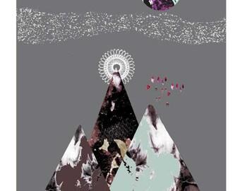 Abstract mountain print, Geometric art, moon art, grey illustration