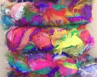 Sari Silk Fuzzy Ribbons, Variegated Sari Fuzzy Ribbon,  Silk Ribbon, Fuzzy Silk Ribbon, Colour - Multicoloured