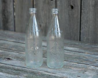 Set Of (2) Vintage Royal Crown Glass Bottles, Antique Clear Glass RC Bottles.