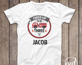 Firetruck Birthday Shirt, Fireman Birthday Tshirt, 3rd Birthday Fireman, 2nd Birthday Fire Truck, Firefighter Birthday Shirt, Fire Truck