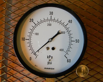 Big Vintage Pressure Gauge For Steampunk Crafters - Tested Working in Very Good Condition - Mfg. Marsh Instrument Company