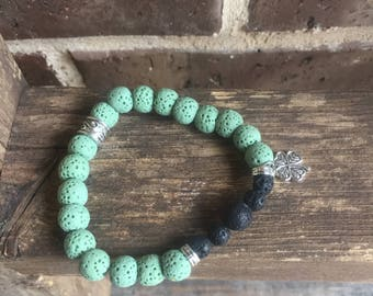 Lucky Clover Green and Black Lava Essential Oil Diffuser Bracelet
