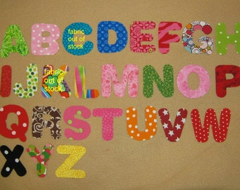 "Alphabets Fabric Letters - You Choose - pick your color - max 9 letters - 2"" size - Iron on Sew on"