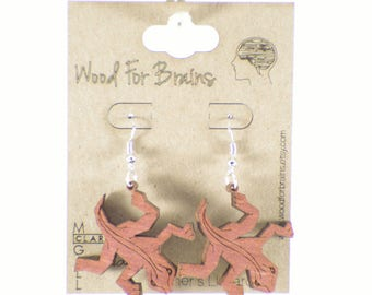 "Laser Cut Wooden Earrings - ""Escher's Lizzards"""
