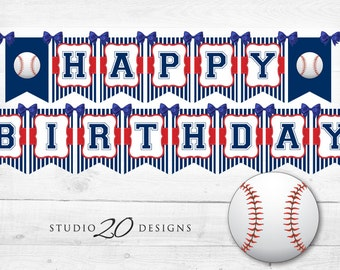 Instant Download Baseball Birthday Banner, Baseball Bunting Banner, Blue Red Baseball Party Banner, Happy Birthday Baseball Banner 68A