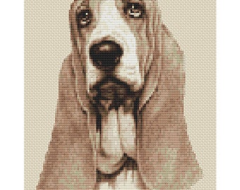 Basset Hound Dog in Sepia Cross Stitch Design by Elite Designs