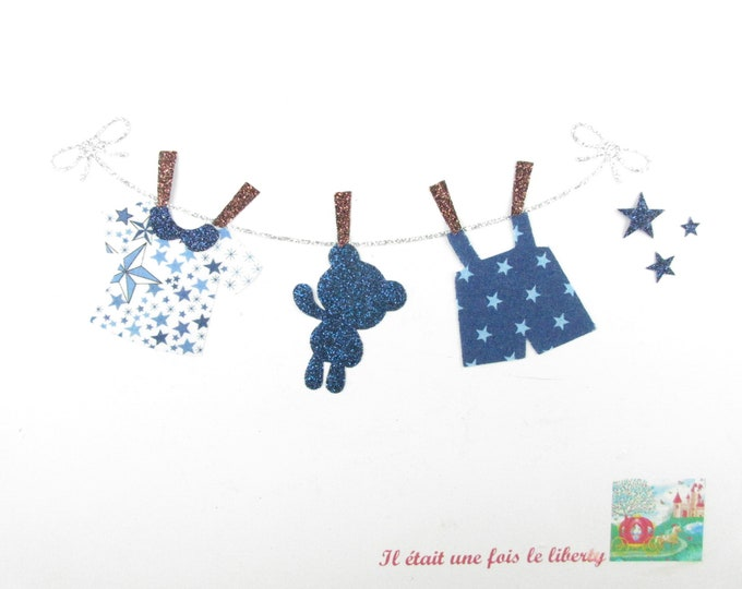 Applied fusing baby it's a boy birth liberty fabrics Eloïse Mitsi valeria flex pink glitter patch iron on patches