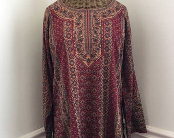Vintage Indian Tunic with Bohemian Paisley Design (S)